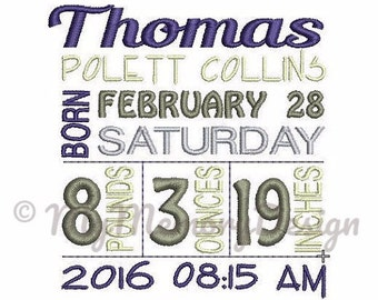 Personalized Digitizing Birth Announcement Subway Art Embroidery Machine Design - EMAIL DELIVERY 0-48 hour - NOT instant download