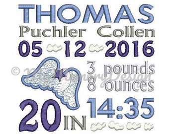 Wing Birth Template Announcement  Embroidery Design - Boy Birth template embroidery - Baby embroidery - Machine Embroidery  Instant download