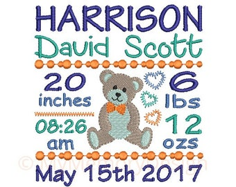 Birth announcement embroidery design - Birth template machine embroidery Baby design - INSTANT DOWNLOAD 4x4 5x7 6x10 sizes