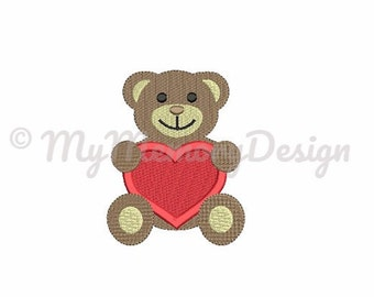 Bear Embroidery Design - Valentine embroidery design - Baby embroidery - Heart embroidery - Machine embroidery INSTANT DOWNLOAD - 5 SIZE