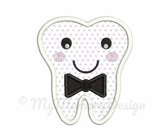 Tooth embroidery design - Tooth applique - Bowtie design - Machine embroidery Instant download pes hus jef vip vp3 xxx dst exp 4x4 5x7 6x10
