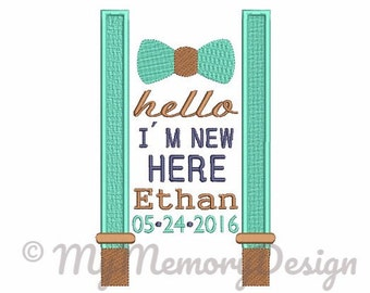 INSTANT DOWNLOAD Boy Newborn birth announcement template embroidery - Bow tie embroidery - Baby boy birthday filled stitch design 5x7 6x10