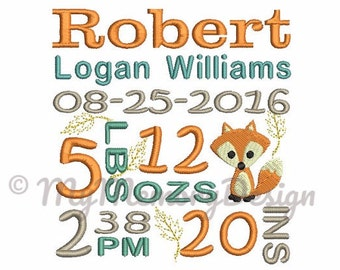 Custom digitizing embroidery design - Fox Birth Announcement  Subway Art Embroidery Design - EMAIL DELIVERY 0-48 hour - NOT instant download