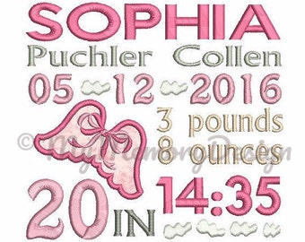 Birth Announcement Girl Embroidery Design - Baby embroidery - Machine embroidery - 4x4 5x7 6x10 embroidery - Instant download - 3 size