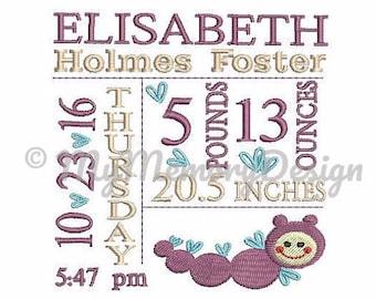 Baby Birth Template Embroidery machine design , Birth  Announcement Embroidery  , Worm embroidery , 3 size , 4x4 5x7 6x10 embroidery design