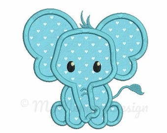 Elephant Applique Design - Baby embroidery - Newborn design - Machine embroidery digital file - pes hus jef vip vp3 xxx dst exp - 3 sizes