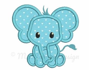 Elephant Applique Design - Baby embroidery - Newborn design - Machine embroidery digital file - pes hus jef vip vp3 xxx dst exp - 3 sizes