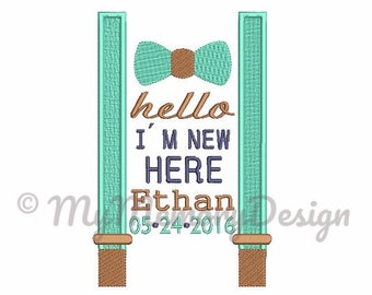 Custom Digitizing Bow Tie With Suspender Birth Announcement Embroidery for boys - Machine embroidery design - Not Instant download - 2 size
