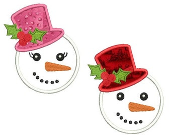 Set of 2 - Snowman applique design - Holiday  children embroidery design - Machine embroidery pattern - INSTANT DOWNLOAD - 4x4 5x7 6x10 size