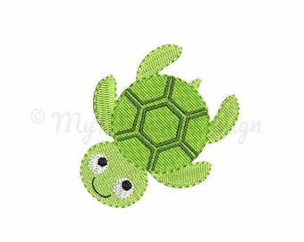 Turtle embroidery - Summer embroidery design - Mini design - Machine embroidery digital file - pes hus jef vip vp3 xxx dst exp - 6 sizes