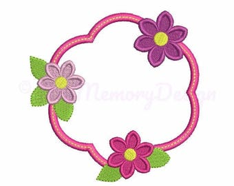 Flower embroidery design - Framed embroidery - Baby girl embroidery design - Machine embroidery - Instant download - 4x4 5x7 6x10 size