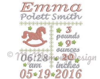 Birth Announcement Embroidery Design - Subway Art Design - EMAIL DELIVERY 0-48 hour - NOT instant downlaod