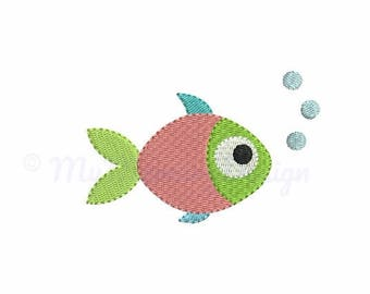 Fish embroidery - Summer embroidery design - Sea design - Machine embroidery digital file - pes hus jef vip vp3 xxx dst exp - 6 sizes