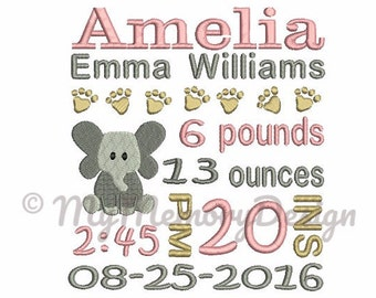 Elephant Personalized Digitizing Birth Announcement Subway Art Embroidery Machine Design - EMAIL DELIVERY 0-48 hour - NOT instant downlaod