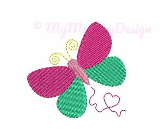 Butterfly Embroidery Design - Mini Fill Stitch Embroidery Pattern - Baby Girl Embroidery - Machine Embroidery - INSTANT DOWNLOAD - 5 size