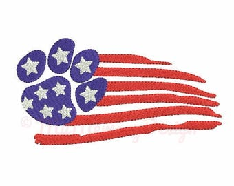 Dog embroidery design - Flag emboidery - Patriotic embroidery pattern - Machine embroidery INSTANT DOWNLOAD - 4x4 5x7 6x10 sizes