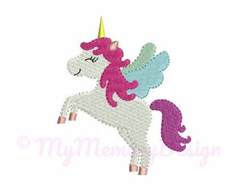Mini embroidery designs - Unicorn Embroidery Design - 4 SIZE - Filled stitch girl embroidery - Small embroidery - INSTANT DOWNLOAD
