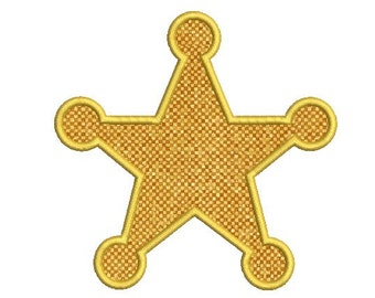 Cowboy Applique design - Sheriff Badge Embroidery Applique  design - Western design - Machine embroidery - Instant download