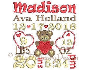 Embroidery Design - Baby Custom Birth Announcement Machine Embroidery Design - Teddy bear embroidery - 4x4 5x7 6x10 size - Personalized made