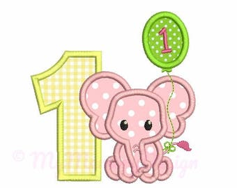 1st birthday applique design - Elephant applique pattern - Baby embroidery - Machine embroidery design INSTANT DOWNLOAD  4x4 5x7 6x10 sizes