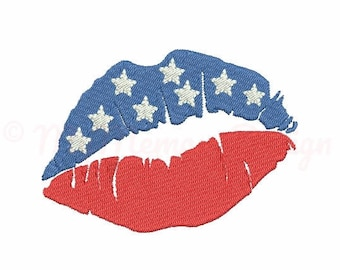 Patriotic embroidery - Flag embroidery - Lips embroidery - 4th of july embroidery pattern - Machine embroidery file - 5 sizes