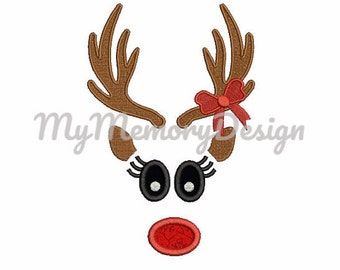 Reindeer antler girl embroidery design - Santa embroidery - Christmas girl embroidery pattern - Embroidery file - INSTANT DOWNLOAD - 3 SIZE