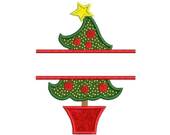 Split Christmas Tree Embroidery Design - Christmas Applique - Holiday Embroidery Design - Machine embroidery - INSTANT DOWNLOAD - 3 SIZE