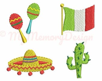 Set of 4 - Cinco de mayo embroidery design - Mexican flag embroidery - Small embroidery pattern - Machine embroidery file - INSTANT DOWNLOAD