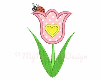 Flower embroidery design, Girl embroidery design, Ludybug embroidery pattern, Summer embroidery, Spring Machine embroidery, Instant download