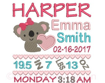 Girl Birth Announcement Embroidery Design - Baby Subway Art Machine Embroidery Digital File - Baby embroidery pattern - Newborn design