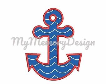 Anchor Applique Design - Machine Embroidery - Nautical Anchor embroidery - Sea embroidery - 3 size