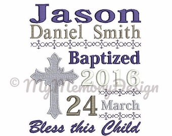 Cross embroidery, Christan embroidery, Birth announcement template embroidery design - Baby embroidery - Babtised embroidery, 4x4 5x7 6x10