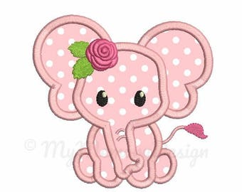 Elephant Applique - Flower embroidery - Baby girl embroidery - Machine embroidery digital file - pes hus jef vip vp3 xxx dst exp - 3 sizes