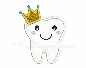 Tooth embroidery design - Tooth applique - Prince design - Machine embroidery Instant download pes hus jef vip vp3 xxx dst exp 4x4 5x7 6x10
