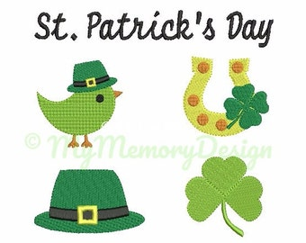Set of 5 - St. Patrick's Day Embroidery Design - Mini filled stitch embroidery - Clover embroidery - Machine embroidery - INSTANT DOWNLOAD