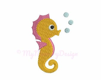 Seahorse embroidery - Mini embroidery design - Summer design -  Machine embroidery digital file - pes hus jef vip vp3 xxx dst exp - 5 sizes