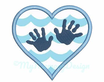 Baby hand embroidery design - Heart Applique - Baby embroidery - Hand print design - Machine embroidery - INSTANT DOWNLOAD - 4x4 5x7 6x10
