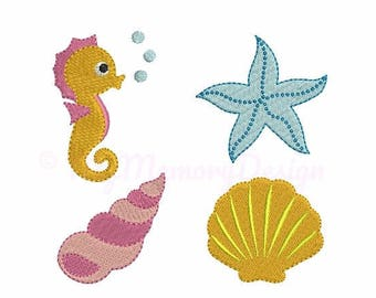Seashell embroidery - Set of 4 Sea embroidery - Mini embroidery design - Machine embroidery - Digital File - Instant download
