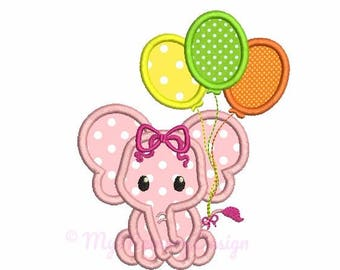 Birthday embroidery - Elephant applique design - Ballons embroidery - Machine embroidery digital file - pes hus jef vip vp3 xxx dst exp