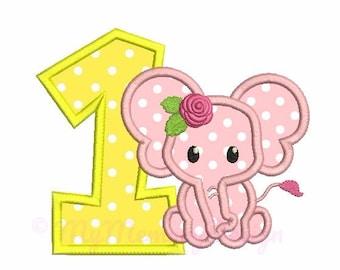 Birthday embroidery - Elephant applique design - 1st birthday applique - Machine embroidery pattern - INSTANT DOWNLOAD - 4x4 5x7 6x10 sizes