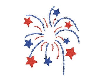 Fireworks embroidery design - Patriotic embroidery - Flag embroidery - 4th of july embroidery - Machine embroidery  INSTANT DOWNLOAD  8 SIZE