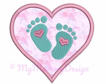 Baby feet embroidery design - Baby applique - Heart applique - Heart embroidery design - New born design - INSTANT DOWLOAD - 4x4 5x7 6x10