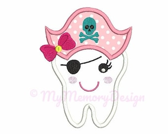 Tooth applique design - Tooth embroidery design - Pirate embroidery - Machine embroidery INSTANT DOWNLOAD pes hus jef vip vp3 xxx dst exp