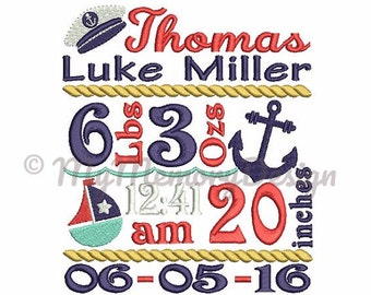 Birth announcement embroidery - Baby boy embroidery, Nautical design, Baby announcement- Machine embroidery design, INSTANT DOWNLOAD 3 SIZE