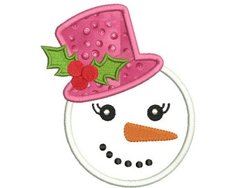 Snowman girl embroidery design - Snowman applique design - Embroidery for girls - Machine embroidery file - INSTANT DOWNLOAD - 3 SIZE