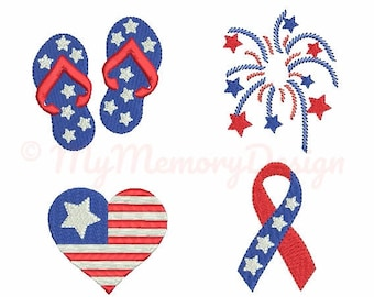 Patriotic embroidery design -  4th of july embroidery pattern - Set of 4 mini embroidery design - Machine embroidery - Instant download