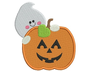 Full stitch halloween embroidery digital design - Pumpkin with ghost embroidery design - Baby embroidery design - INSTANT DOWNLOAD - 6 SIZE
