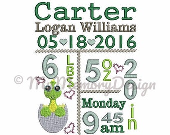 Birth Announcement Template Embroidery Design - Subway art design - Birth stats - Dinosaur embroidery design - INSTANT DOWNLOAD - 3 sizes