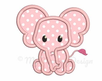 Elephant Applique Design - Newborn embroidery - Baby girl applique - Machine embroidery digital file - pes hus jef vip vp3 xxx dst exp