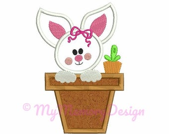 Easter bunny embroidery design - Easter Applique - Girl bunny embroidery - Machine embroidery design - INSTANT DOWNLOAD - 4x4 5x7 6x10